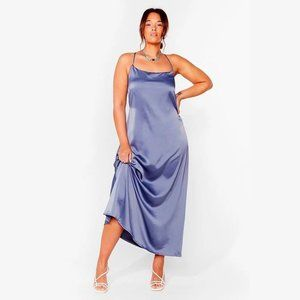 Nasty Gal Plus Size Cowl Back Satin Maxi Dress 14